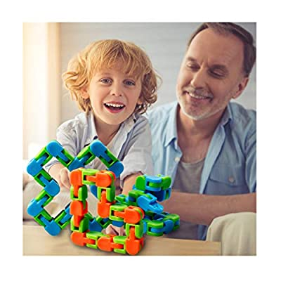 LeeMaung Colorful Puzzle Sensory Fidget Toys Stress Relief Rotate And Shape,Bicycle Chain Track Decompression Toy Finger Toys for Adults Kids 24 Bit (B)