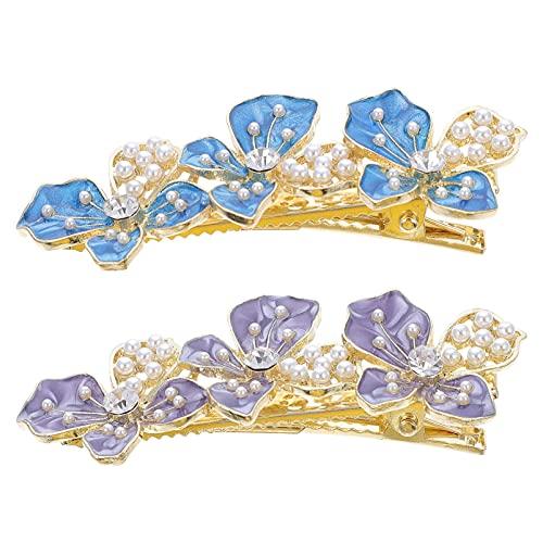 Beaupretty 2 Piezas de Horquillas de Flores de Cristal Horquillas de Perlas Pasadores de Pelo Francés Broches de Diamantes de Imitación Horquillas para Mujeres Niñas Tocado