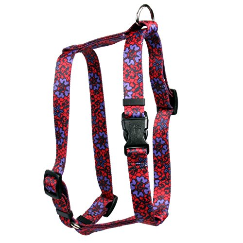 Yellow Dog Design Red Lace Flowers Roman H Dog Harness, Small/Medium-3/4 Wide fits Chest of 14 to 20