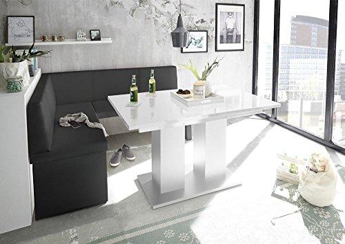 MyStyleWood Eckbank Olga Schwarz mit Säulentisch Weiß Küchenbank Sitzecke dick gepolstert Kunstleder pflegeleicht stabiles Holzgestell 128x168L