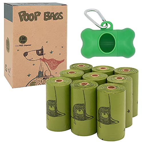 Ley's Dog Poop Bags with Dispenser and Leash Clip, Extra Thick Strong Poop Bags for Dogs, Eco-Friendly Disposable Dog Waste Bags