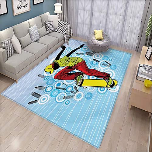 Alfombra de piso para dormitorio juvenil, para adolescentes jugando en la calle con fondo abstracto de ciudad, círculos y edificios de alta calidad, gruesa, 6.6 x 9 pies, multicolor