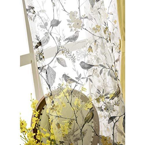 Rideaux Occultants Oiseau Feuilles Impression Rideau Crayon Plissé 2 Panneaux Pour Maison Salon Cuisine Chambre,Voile,W200xL250cm