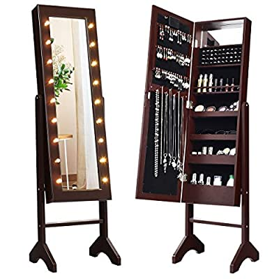 Giantex Standing Jewelry Armoire with 18 LED Lights Around The Door, Large Storage Mirrored Jewelry Cabinet with Full Length Mirror, 16 Lipstick Holder, 1 Inside Makeup Mirror