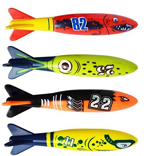 4pcs / Set plongée sous-marine Torpedo piscine Jouer Jouet extérieur Sport Outil de formation pour bébé Enfants Piscine Jouet