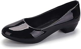 [ワン アンブ] エナメル ロー ヒール パンプス ぺたんこ 靴 万能 歩きやすい フラット シューズ リクルート レディース