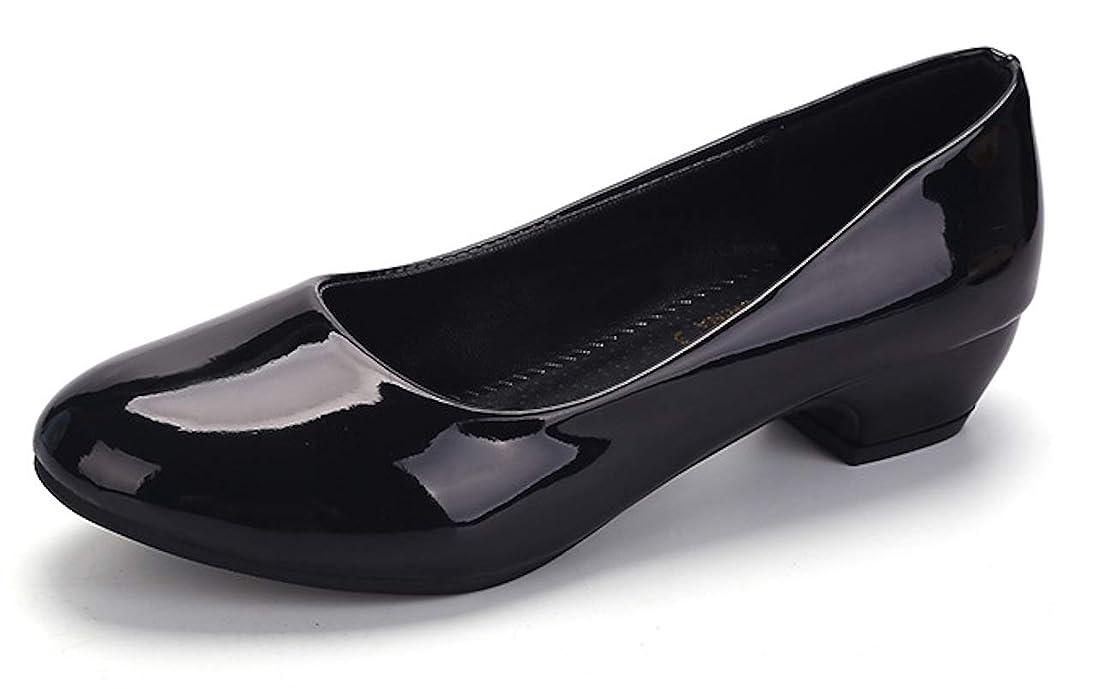 作り論理的に空虚[ワン アンブ] エナメル ロー ヒール パンプス ぺたんこ 靴 万能 歩きやすい フラット シューズ リクルート レディース