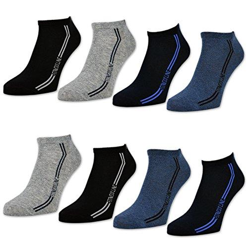 8 oder 12 Paar Sneaker Socken Herren Sport Baumwolle Schwarz Blau Grau - 16777 (43-46, 8 Paar | Farbmix)