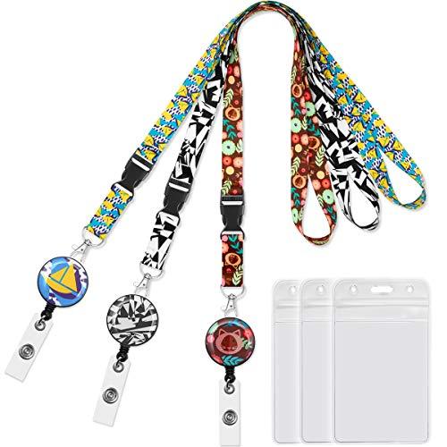 Lanyard lanyards for id Badges Badge Reel Retractable Clip Badge Holder Vertical 3pack Carabiner reels with Id Card Badge Holders Black&White lanyards for Women Keys Cruise Lanyard Width 0.79 inch