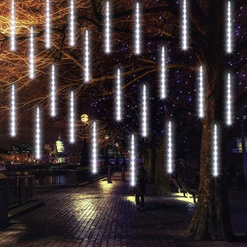 FUNPENY Meteor Shower Rain Lights, 288 LED Christmas Lights Icicle Snow Falling Christmas Lights Outdoor Raindrop Lights, Xmas Tree Holiday Christmas Thanksgiving Decoration, White