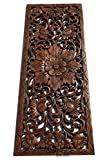 Large Carved Wood Wall Panel. Floral Wood Carved Wall Decor. Size 35.5'x13.5'x0.5' Asiana Home Decor (Brown)