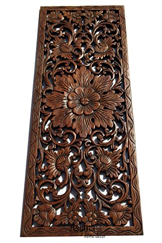 Large Carved Wood Wall Panel. Floral Wood Carved Wall Decor. Size 35.5'x13.5'x0.5' Asiana Home Decor...