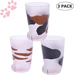 Cat Claw Cup Cat Paw Frosted Cup Kids Milk Glass Cups Personality Breakfast Milk Cup Cute Cat Foot Claw Print Mug Men and Women Couples Household Cups