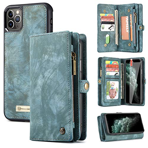 iPhone 11 Pro Max Wallet Case, Zttopo 2 in 1 Leather Zipper Detachable Magnetic 11 Card Slots Card Slots Money Pocket Clutch Cover with Screen Protector for iPhone case 6.5 Inch