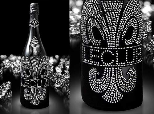 Das Sekt Geschenkset | Diamond Cuvée Le Club mit über 1000 geschliffenen Schmuckkristallen | Das Luxus Geschenk für Mann und Frau | es muss nicht immer Moet Ice oder Sansibar Prosecco sein | inkl 2 original silbernen Champagner-Flöten | Geburtstag Valentinstag