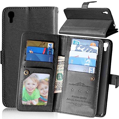 Für Handy-Schutzhüllen, für Alcatel One Touch Idol 3 5.5 Zoll Hülle, Volltonfarbe Premium PU Leder Geldbörse Magnetverschluss Flip Folio Schutzhülle Eingebaute 9 Kartensteckplätze & Ständer