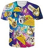 ALISISTER Lustige T-Shirts Männer Damen 3D Personalisierte Galaxis Pizza Katze Muster Beiläufig Rundhals Kurzarm Tshirts Tops XXL