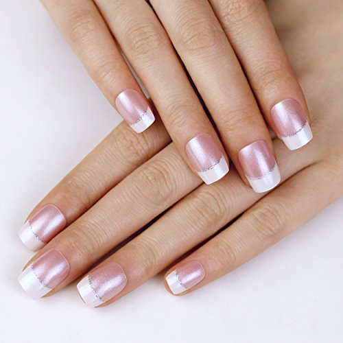ArtPlus Faux Ongles 24pcs x 2 (2-Pack) Pink Elegant Touch Silver Line Premium Pack False Nails French Manicure Full Cover Medium Length with Glue Fake Nails Art 2 Boxes in 1