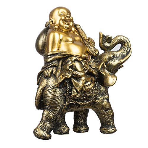 YINASI Feng Shui Handmade Maitreya Laughing Buddha Statue, Laughing Buddha on Elephant Sculpture Figurine for Lucky & Happiness God of Wealth Home Office Hotel Tabletop Desk Decoration