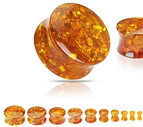 Orange, 8GA (3 mm) Vollsynthetisches Amber Flesh Tunnel Sattelstecker Ohrmesser Ohrring