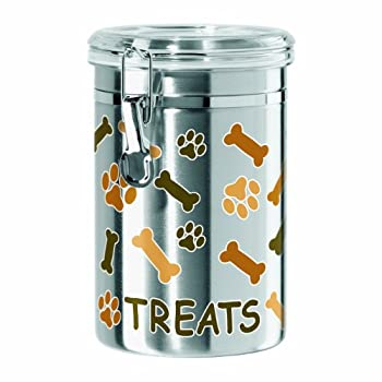 Oggi Airtight Stainless Steel 51-Ounce Pet Treat Canister with Treats Paws and Bones Motif-Clear Acrylic Flip-Top Lid with Locking Clamp Closure