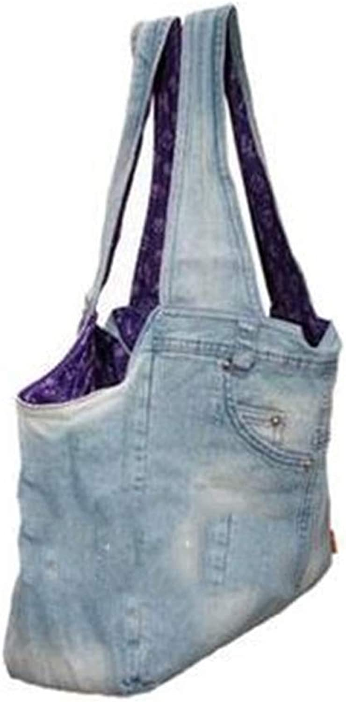 Fashion Denim Dog Bag Pet Bag Out Handbag Handbag Shoulder Bag Carrying Bag Travel Set (color   Outer bluee Inner Purple)