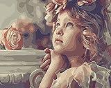 Pintura acrílica por números, chicas solas con paraguas y violín, imágenes por números para adultos, decoración del hogar sin marco, A2 40x50cm