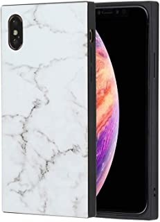 Rectangle White Marble Square iPhone Case Glossy, Soft TPU Rubber Gel Granite Cellphone Cover Square Phone Case for iPhone (White, iPhone 6+/6s+)