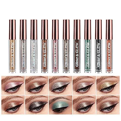 10 Color Metallic Glitter Liquid Eyeshadow Set, Waterproof Smoky Eyeshadow Set, Long-lasting...