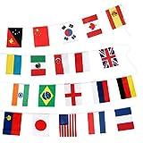 Flaggenkette 100 Länderflaggen Girlande Weltflaggen 14*21cm, Dekorationen für Bar und Restaurant, Olympische Spiele, Weltmeisterschaft, Internationale Sportfeier (25 Meter)