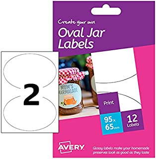 Avery HJJ02 Create Your Own Self-Adhesive Oval Glossy Jar Labels, 2 Labels Per A6 Sheet