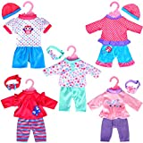 5-Pack Playtime Outfits for 10'-12' Dolls (Includes Hair Bands and Hats) Like 10-inch Baby Dolls /12-inch Alive Baby Dolls/ New Born Baby Dolls