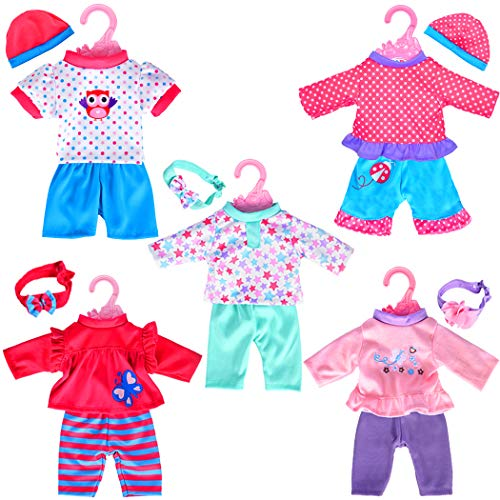 5-Pack Playtime Outfits for 10-12 Dolls (Includes Hair Bands and Hats) Like 10-inch Baby Dolls /12-inch Alive Baby Dolls/ New Born Baby Dolls