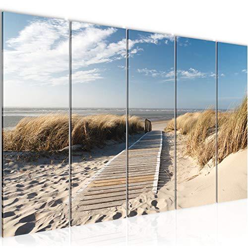 Bilder Strand Meer Wandbild 150 x 60 cm Vlies - Leinwand Bild XXL Format Wandbilder Wohnzimmer Wohnung Deko Kunstdrucke Blau 5 Teilig - MADE IN GERMANY - Fertig zum Aufhängen 604056a