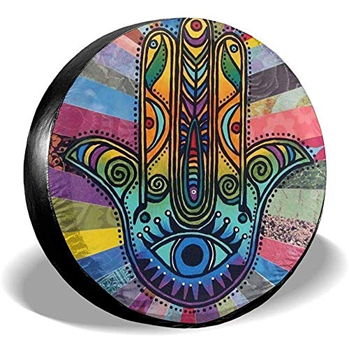 Drew Tours Hamsa Praying Hand Mandala Cubierta de llanta de refacción Universal Impermeable Rueda de Repuesto Cubierta de llanta Apta para Remolque RV SUV para diámetro 23 '-33 15 Pulgadas