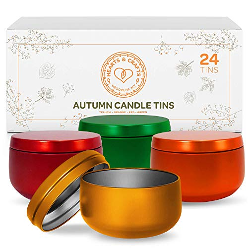 Hearts & Crafts Candle Tin Cans with Lids - 8-oz. Fall Tin Cans, 24-Pack - for Fall Decorations, Holiday Candles, Arts & Crafts, Storage, Gifts, and More