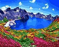 NC56 A 子供のデジタルアダルトドローイングボードキャンバスオイルペイントセット、ブラシとアクリルペイントの子供大人の初心者40x50cmの山の上の家族の壁の装飾湖