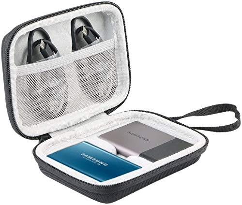 Khanka Case Tasche Schutzhülle Für Samsung Portable SSD T5 / T3 250GB 500GB 1TB 2TB Festplatte. (Für 2 SSD-Schwarz/Weiss)