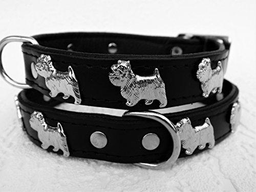 Lusy011 *Westie* Hunde Halsband, Leder, Halsumfang 30-36cm, Schwarz, NEU(PL.19-9-3-32)