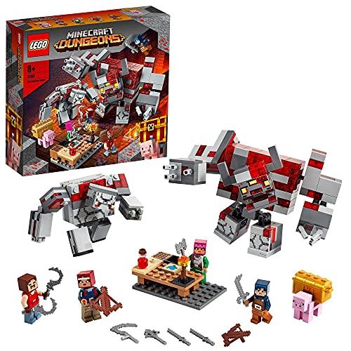 LEGO 21163 Minecraft La Bataille de la Pierre Rouge, Set de Construction avec Figurines de Golem et de Monstre, Jouets pour Enfants de 8 Ans et Plus