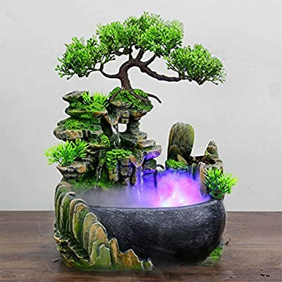 Desktop Water Fountain Indoor Decoration – Fountain Ornament Fengshui - with LED Light for Home Office Bedroom RelaxationSoothing Relaxation, Zen Meditation Ambient Office Home