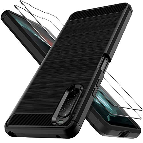 LK Hülle für Sony Xperia 10 II,[Anti Fingerabdruck] Flexibel Weich TPU Slim Gebürsteter Hülle Cover mit Panzerglas Folie[2 Stück] für Sony Xperia 10 II - Schwarz