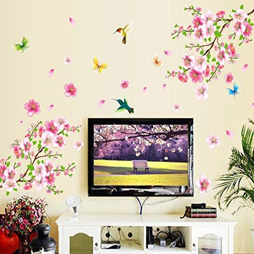 Pegatina de pared con patrón de flores, pegatinas de papel tapiz de PVC respetuosas con el medio ambiente, decoración de paisajismo extraíble autoadhesiva