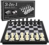 Checkers Chess Backgammon Set 3-in-1 Game Set for Kids and Adults,Magnetic Travel Chess Set with Folding Board Travel Educational Board Games,10' x 10'