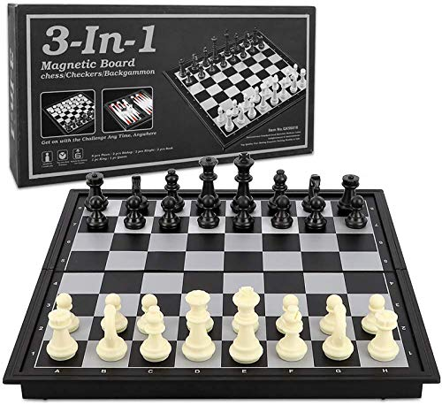 backgammon chess sets Checkers Chess Backgammon Set 3-in-1 Game Set for Kids and Adults,Magnetic Travel Chess Set with Folding Board Travel Educational Board Games,10