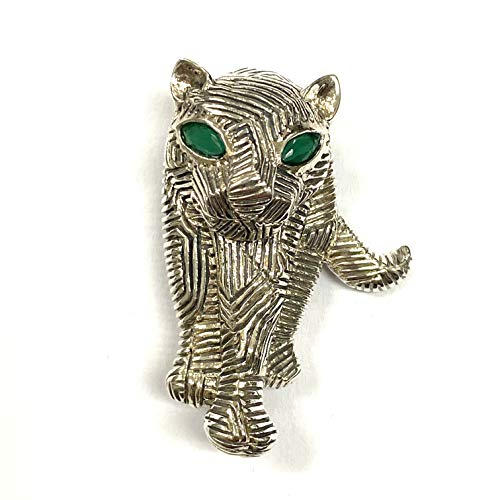 Vintage Style Panther Pin Brooch with Emerald Eye 925 Sterling Silver