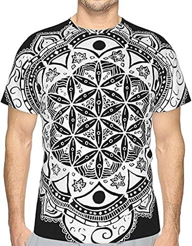 フラワーオブライフセイクリッドジオメトリー3DプリントメンズTシャツファッション半袖Tシャツステディローキー-ブラック-3X-ラージ