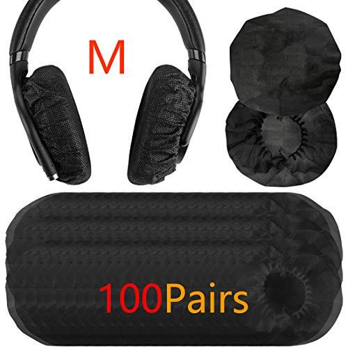 Geekria 100pairs Dehnbare Kopfhörer-Abdeckungen, Einweg-Ohrmuscheln für Medium/Large-Sized Over-Ear Headset, Ohrpolster(3.14-4.33inches)