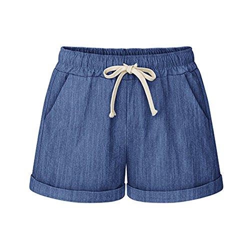 Elastic Shorts for Women Summer Drawstring Casual Shorts with Pockets Chambray Tag 4XL-US 16
