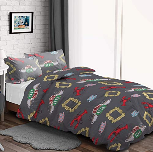 Warner Brothers Friends TV Show Teddy Fleece Grey Duvet Cover Quilt Bedding...